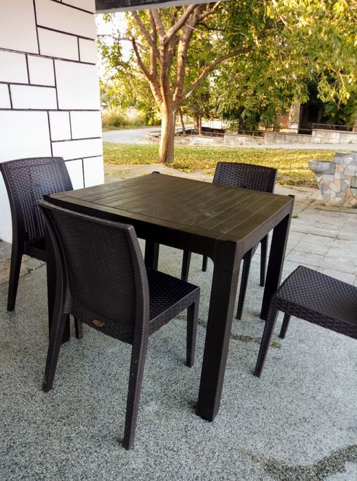 Продавам 5 маси + 20 стола .Нови
