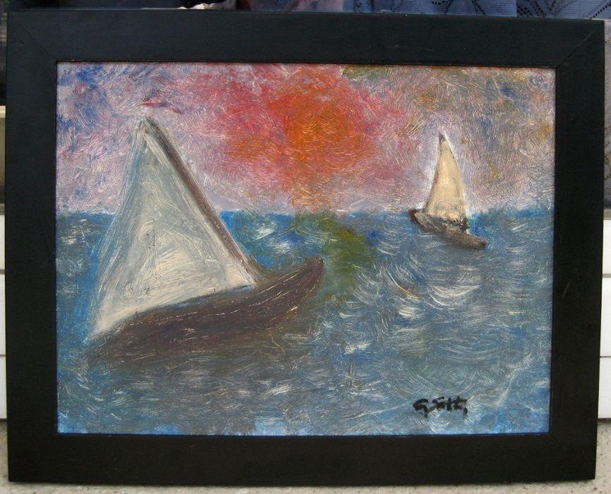 Tablou Peisaj marin Barci in larg pictura in ulei 37x47cm