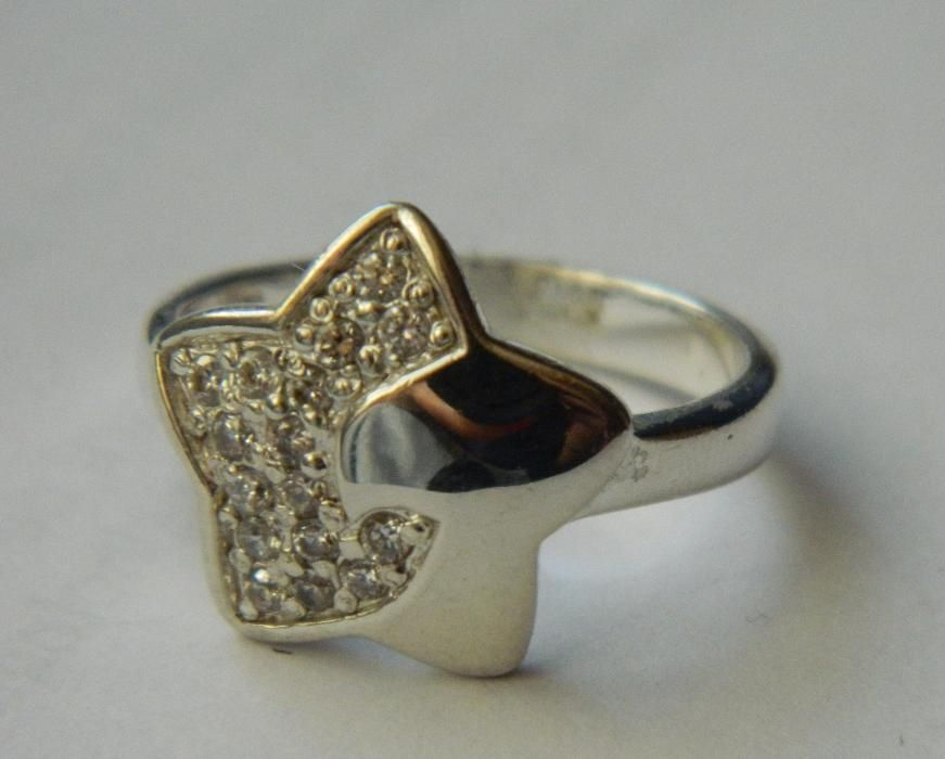 ARG243,inel argint 925, nou/marcat, stea masiva cu zircon alb