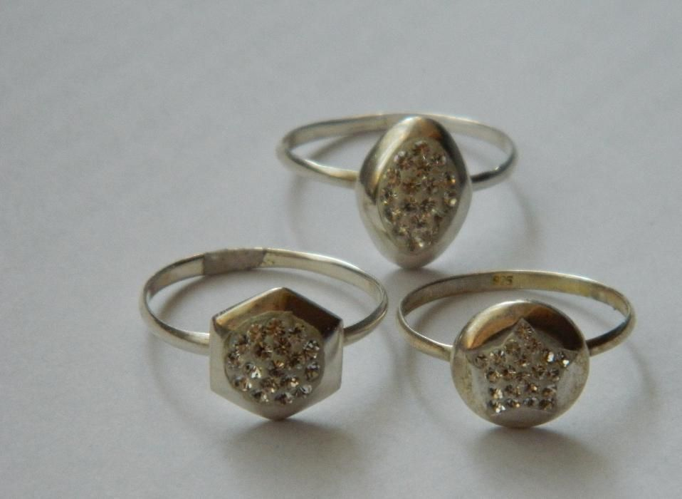 ARG207,set 3 inele argint 925,noi/marcate, marimi diverse cristale sw
