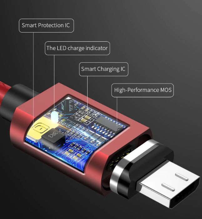 Cablu magnetic WSKEN - Fast Charger - Micro Usb si Type C - sigilat