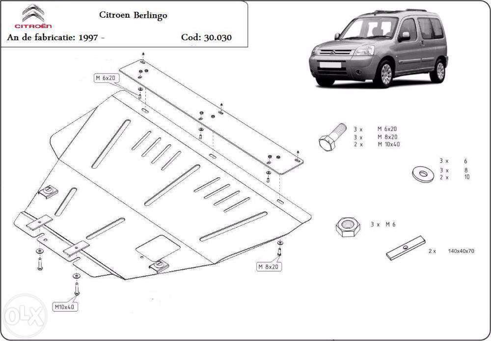 Scut metalic pentru motor Citroen Berlingo 1997-2008 - otel 2mm