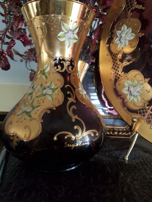 Vaza și fructiera MURANO pictate manual si cu foita aur 24K, semnate
