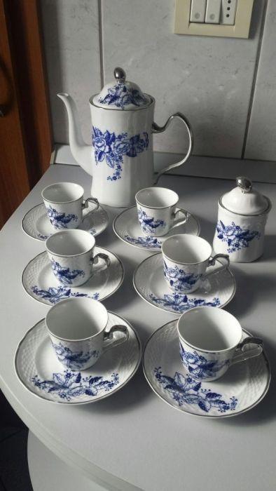 Set cafea din porțelan cu cobalt