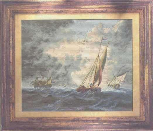 """Продавам оригинален ръчно изработен гоблен """"Кораби в развълнувано море"""