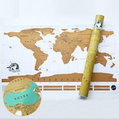 Harta lumii razuibila Am fost acolo - cadou inedit - harta calatorului
