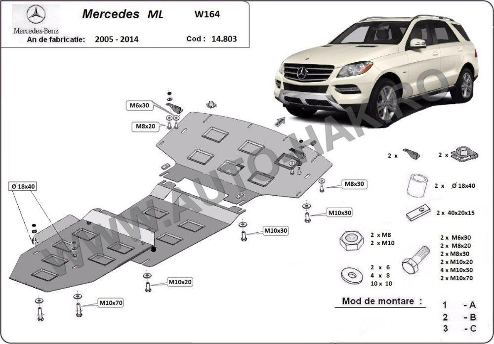 Scut motor metalic Mercedes ML W164 2005-2011 - otel 2,5mm