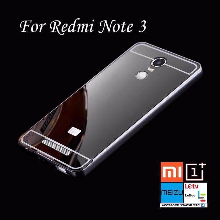 Husa/Bumper+capac spate Xiaomi Redmi Note 2, 3. Efect aluminiu+oglinda