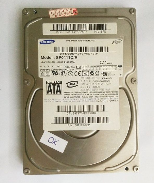 Harddisk 40GB SATA calculator PC verificat