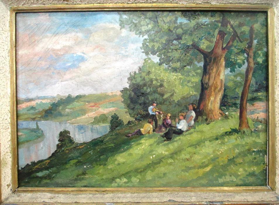 pictura veche, de colectie, gen Vermont, atelier de secol IX,100x70 cm