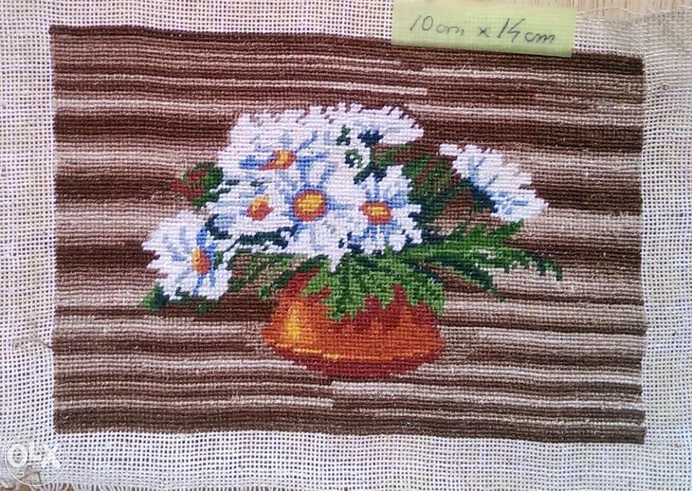 Goblen - Vaza cu flori: 10 x 14 cm