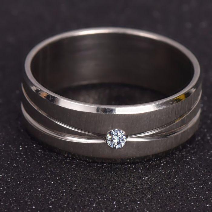 SET Inel argintiu de Casatorie, Logodna, Nunta - aspect aur alb