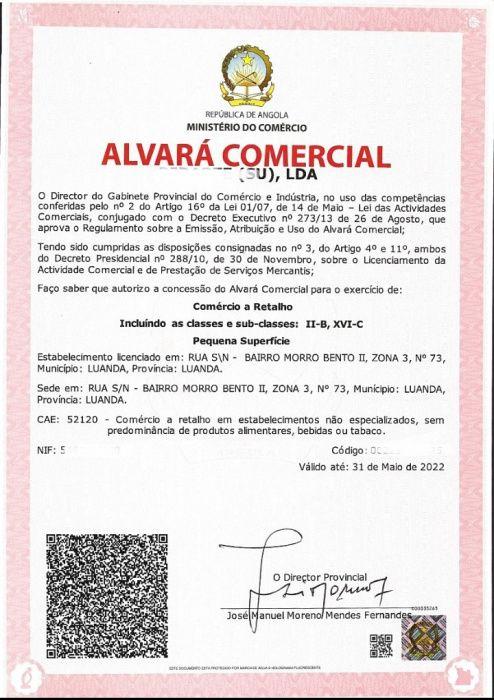 Alvara para Venda de produtos informáticos e tele comunicações