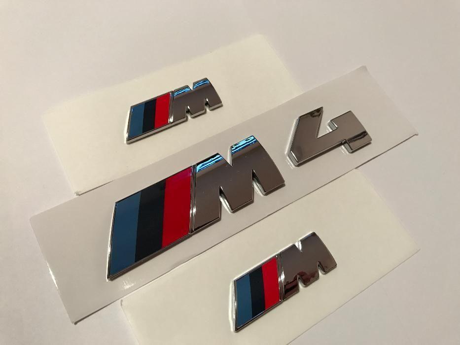Set Emblema BMW M4 aripi/spate abs originale crom