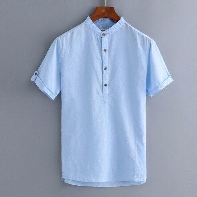 Camisa de linho gola chinesa