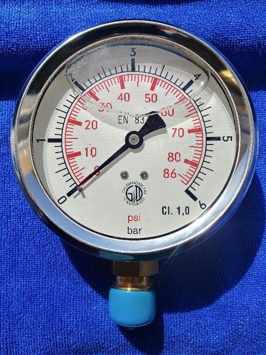 Manometru cu glicerina industrial, 6 bari/86 psi