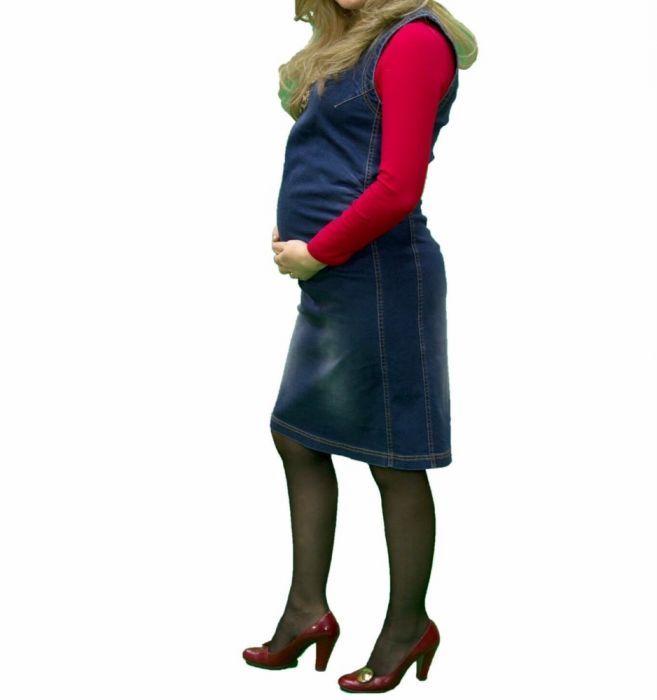 Rochie- Sarafan din blug pentru gravide