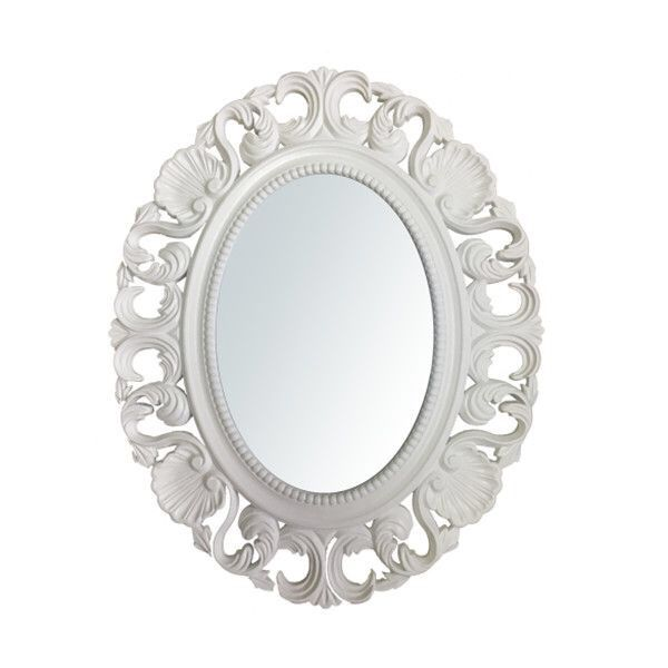 Oglinda Mireasa Nunta ovala cu rama alba din lemn cu mode