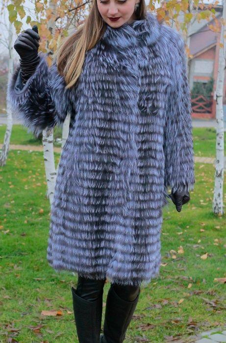 Promotie! Haina de blana naturala vulpe argintie vesta pe stoc M-L-XL