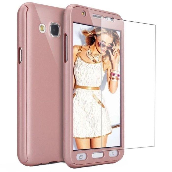Husa 360 grade pentru Samsung j3 2016 ROSE-GOLD cu folie de protectie