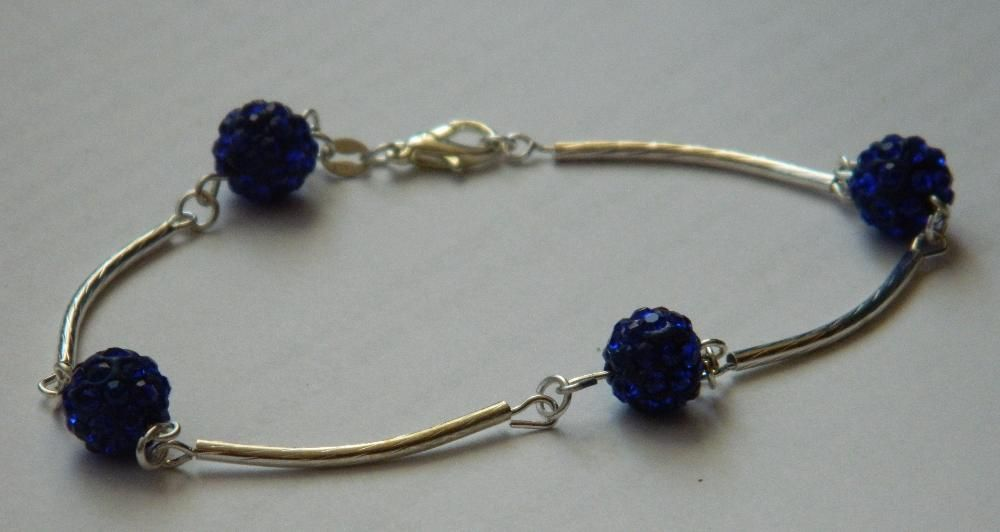 ARG224,bratara argint 925,noua/marcata, semifixa,cristale sw albastre