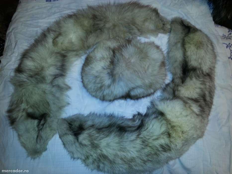 Caciula de dama si guler din vulpe argintie 100%naturala