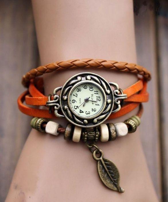 Bratara cu ceas vintage pentru femei - NOU - portocaliu