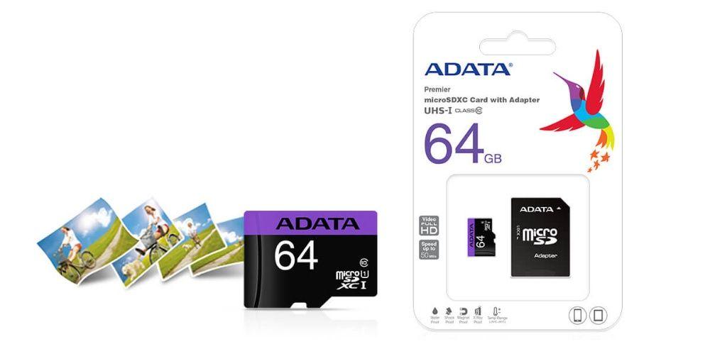 Card de memorie Adata microSDHC AUSDX64GUICL10-RA1, 64GB, Clasa 10 + a