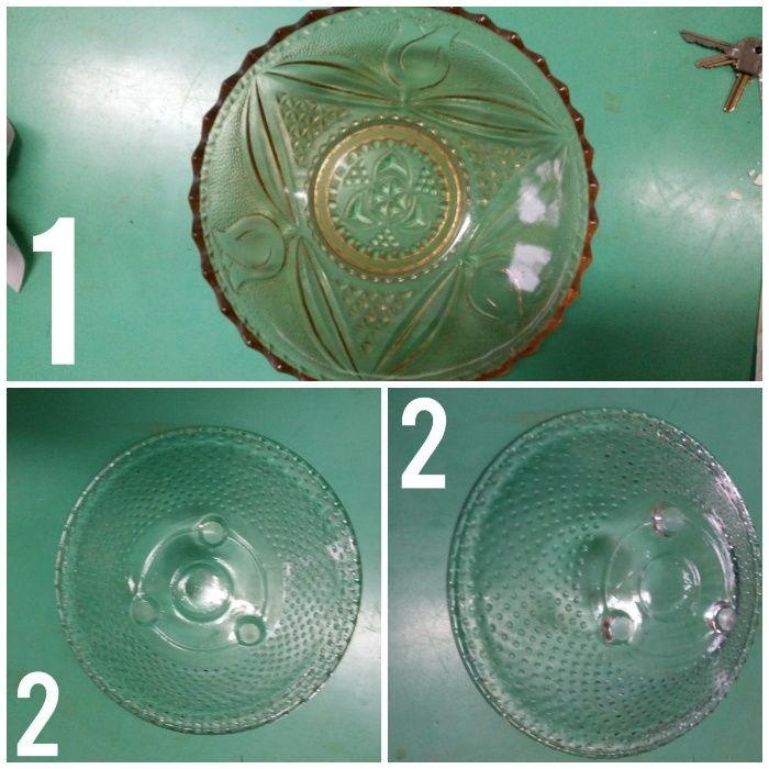 Стъклени купи - фруктиери от релефно стъкло - 2бр