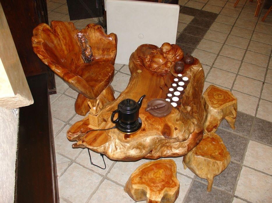Уникальный стол из можжевельника для чайной церемонии. Со стульями.