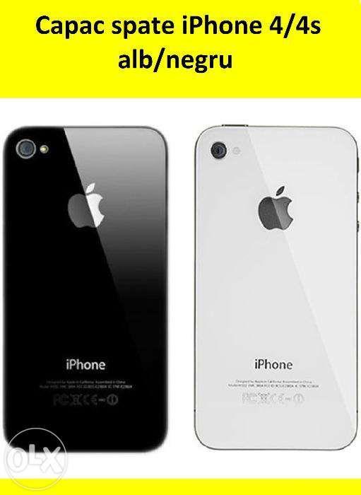 Capac spate iPhone 4/4s, alb/negru, nou, montaj inclus