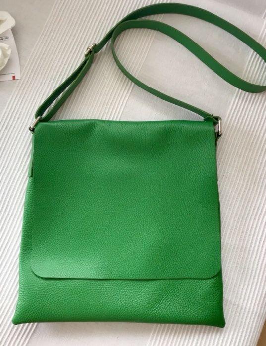 Geanta din piele naturala verde, noua