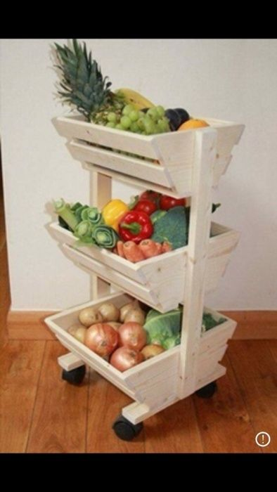 Raft din lemn pentru legume/fructe