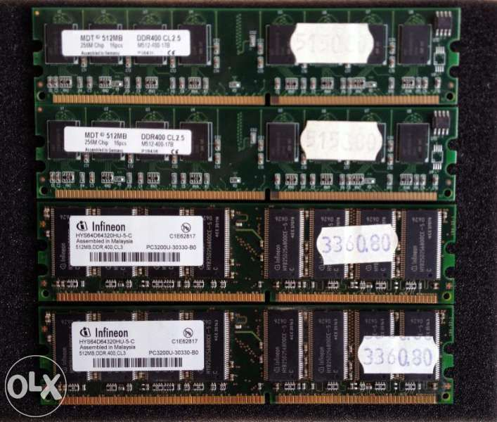 RAM Infineon и MDT 512МB DDR 400 (PC3200)