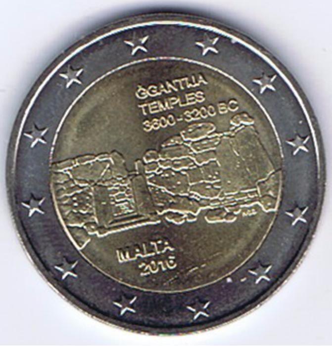 moneda 2 euro comemorativa MALTA 2016-Templul Ggantija, UNC