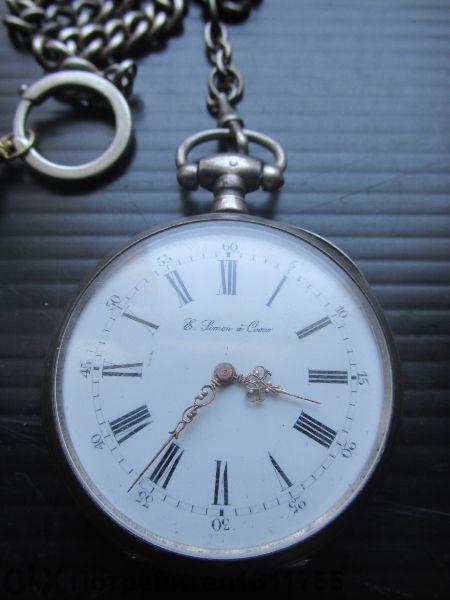 старинен сребърен френски джобен часовник