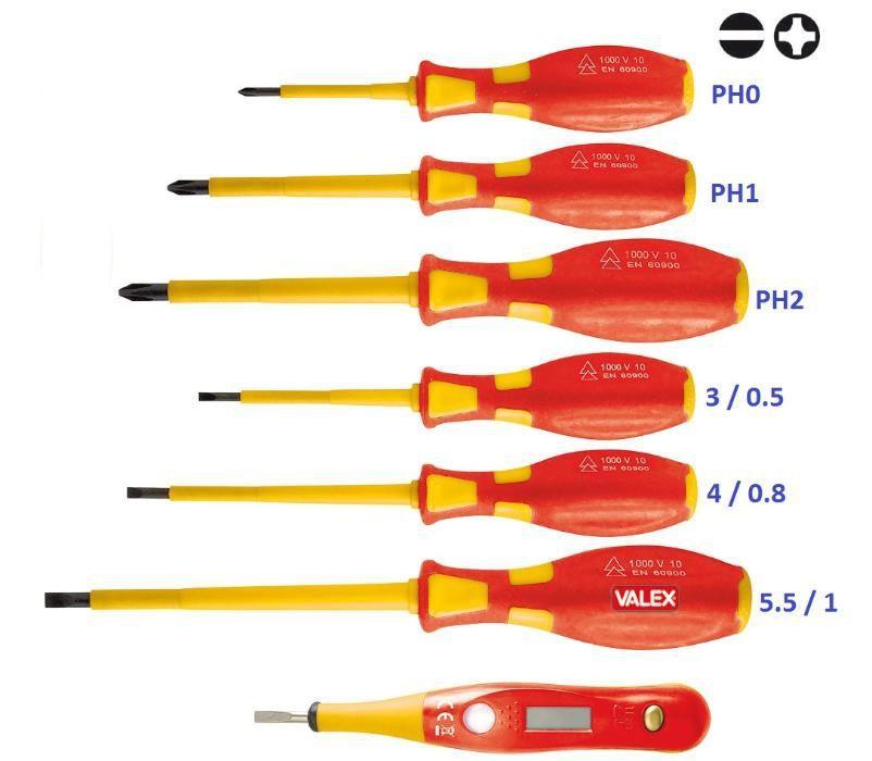 Отвертки изолирани за 1000V к-т 6 броя+фазомер с цифров индикатор