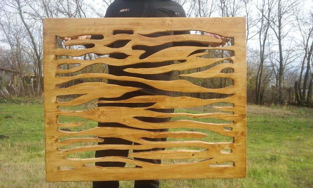 tablou traforat in lemn 80x100 cm - model tigru