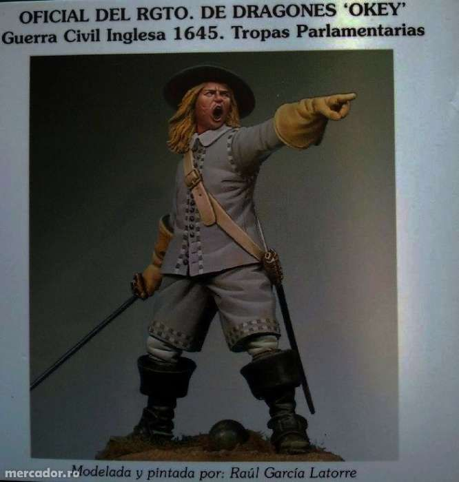 Figurina capitan dragoni - razboi civil englez 1645 -metal aprox. 54mm