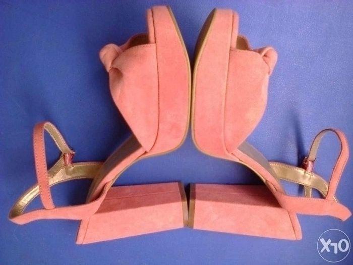 Pantofi dama noi roz Grazia piele intoarsa nr. 41 toc 12,5 cm