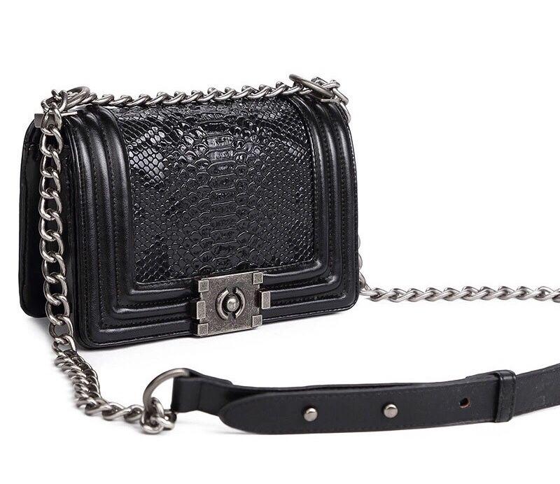 Geanta Piele Lant eleganta piele neagra stil Gucci