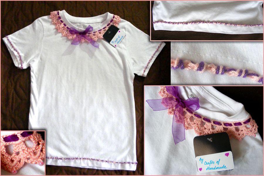 Tricou fetite cu aplicatii crosetate