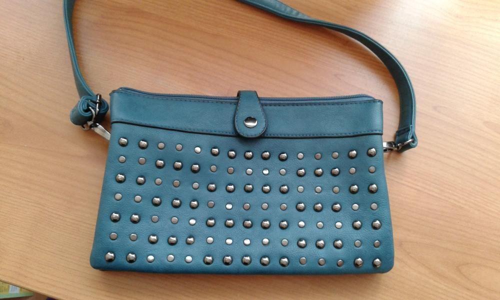 Маркова, нова чанта - тюркоаз, кожена 30см./13см. с една дръжка и капс