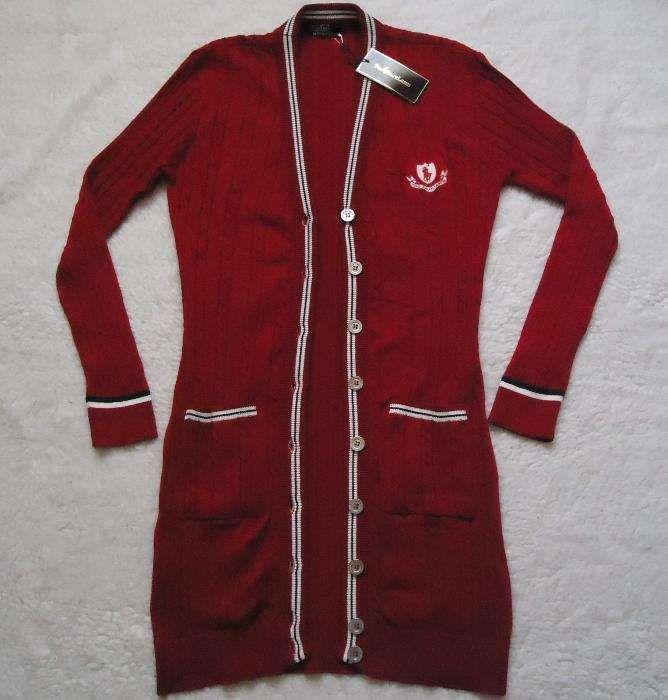 Cardigan lung tricotat dama 7 nasturi metalici 2 buzunare rosu jacheta