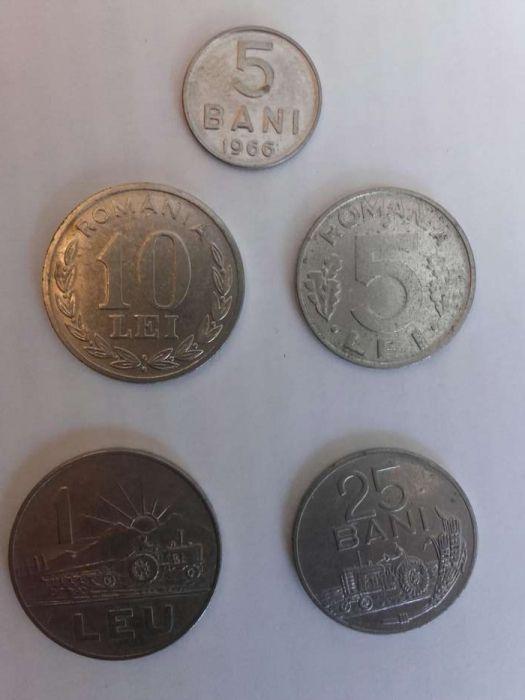 Set 5 monede 5bani, 25 bani, 1 leu 1966, 5 lei, 10 lei 1995