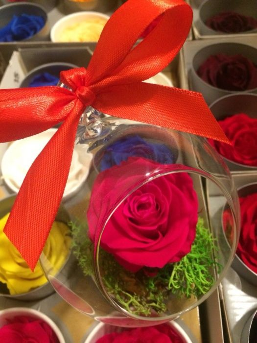 Cadou Trandafir rosu nemuritor in glob de sticla