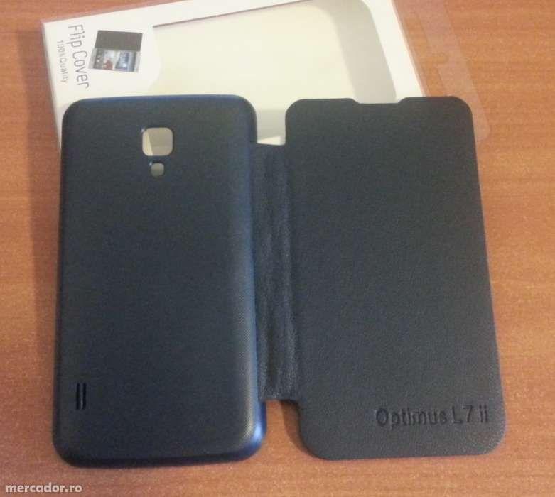 Husa NEAGRA Toc Flip Cover LG Optimus L7 II Dual P715 + Folie