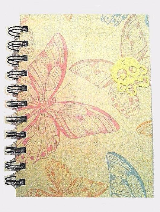 Caiet/carnetel A5, coperta cartonata, lucios, fosforescent - fluturi