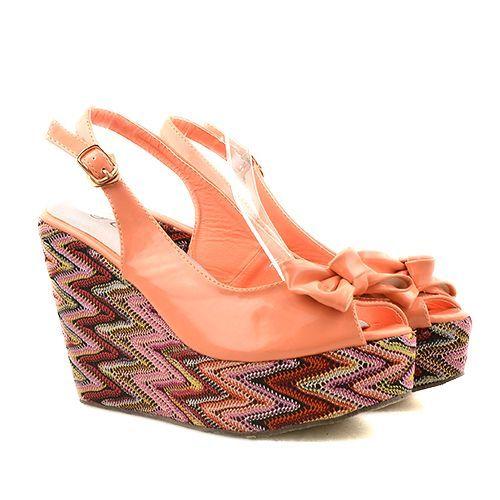 Sandale cu platforma orange/corai marimea 35
