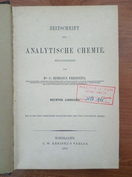 Carte veche germana : Chimie Analitica Remigius Fresenius 1870 Focsani - imagine 3